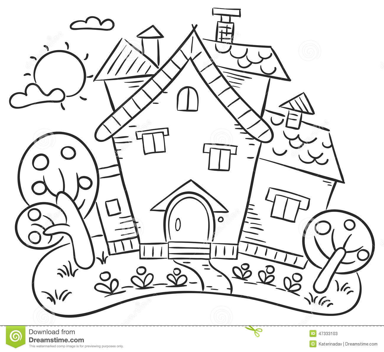 House With A Garden Gardening Clipart Black And White Countryside.