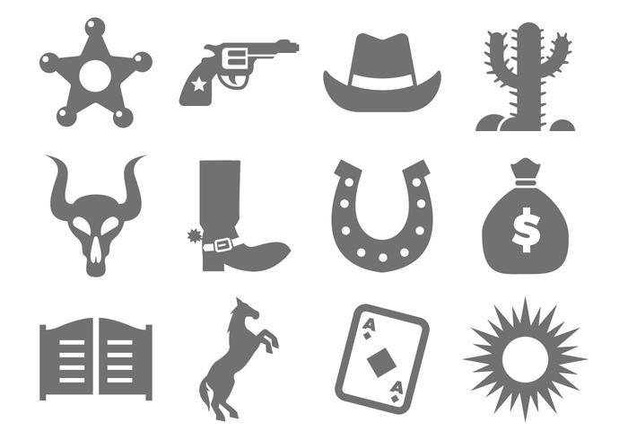 Cowboy Icons Vector.