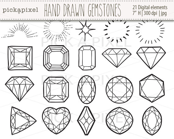 Hand Drawn Gemstones, Diamonds in Black outlines, Gems Clip.
