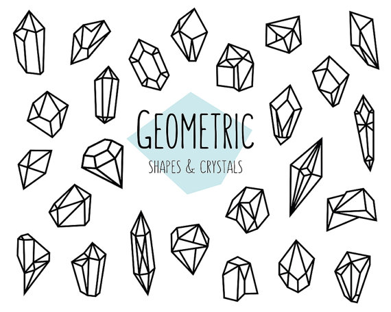 Geometric Shapes and Crystals Clipart.