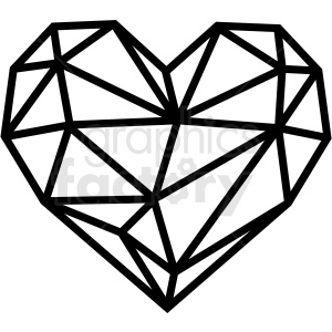 geometric heart vector art clipart. Royalty.