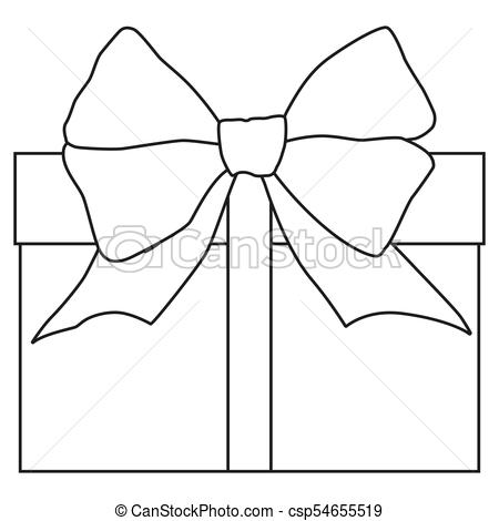 Line art black and white gift box icon poster..