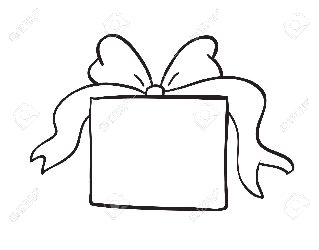 detailed sketch of gift box on a white background.