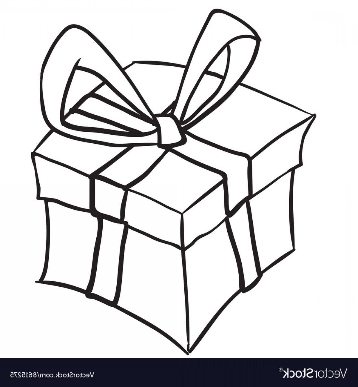 Simple Black And White Gift Box Vector.