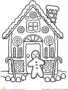 clipart gingerbread house black and white.