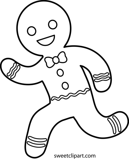Gingerbread Running Clipart Black And White.