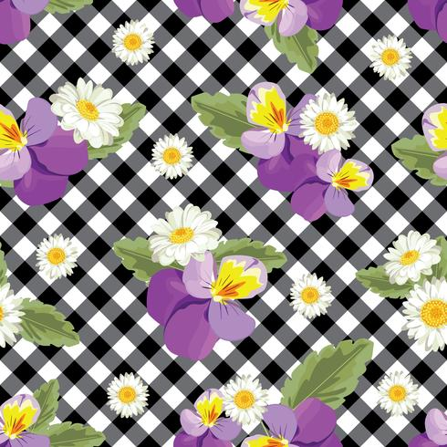 Floral seamless pattern. Pansies with chamomiles on black.
