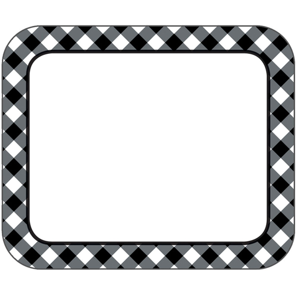Black & White Gingham Name Tags Woodland Whimsy.