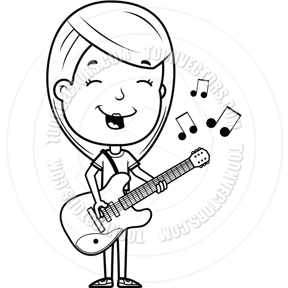Girl Playing Guitar Clipart Black And White.