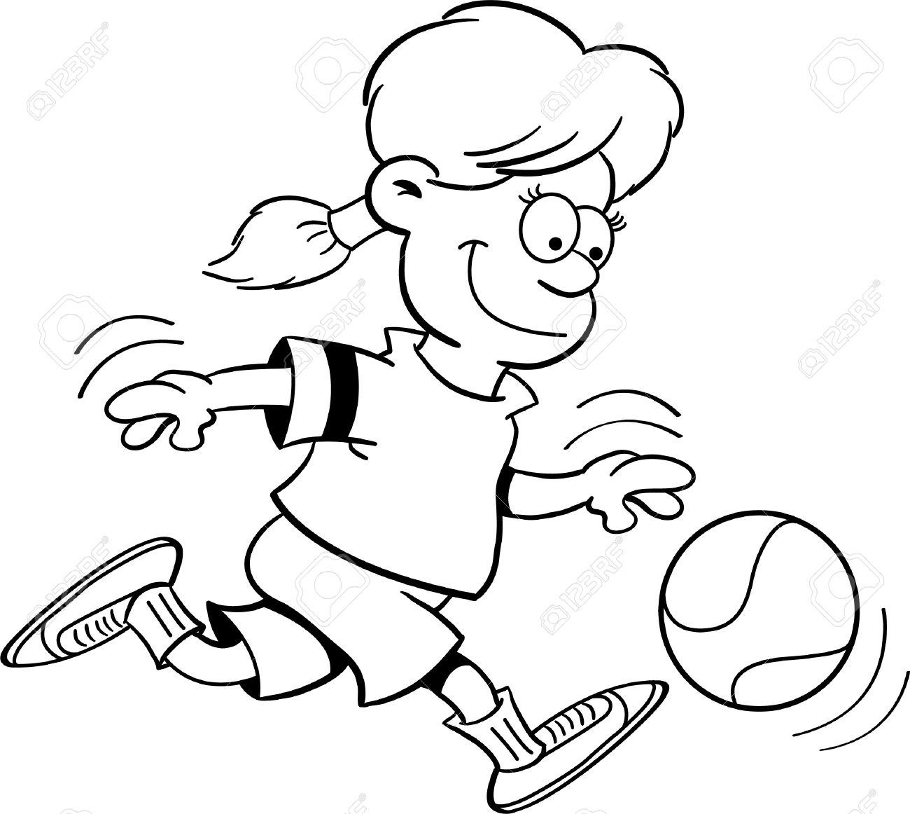 Black And White Illustration Of A Girl Playing Basketball Royalty.