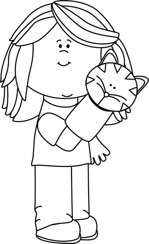 Black and White Girl Playing with a Puppet Clip Art.