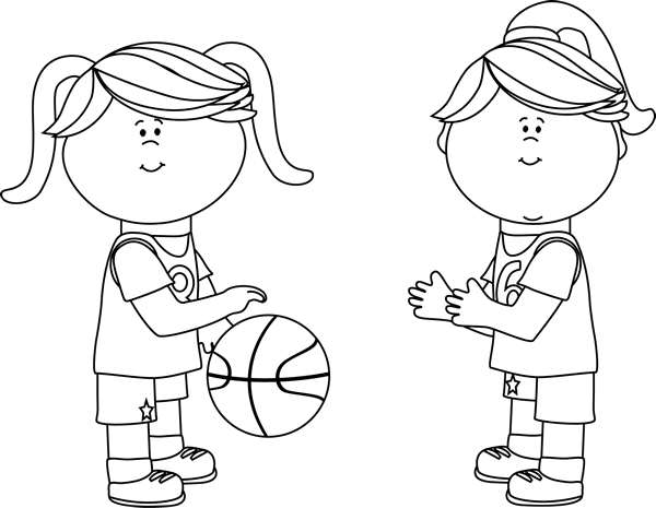 Black and White Girls Playing Basketball Clip Art.