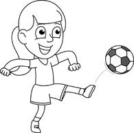 Soccer Player Clipart Black And White Girl.