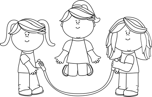 Black and White Girls Jumping Rope Clip Art.
