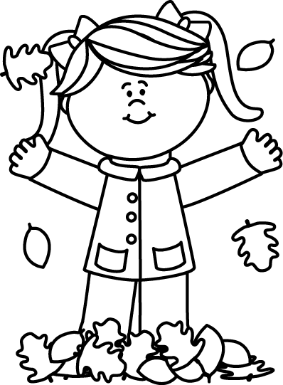 Black and White Girl Playing in Leaves Clip Art.