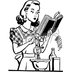 vintage women cooking from a cookbook vector vintage 1900 vector art GF  clipart. Royalty.