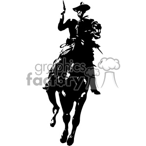 frederic remington black white vector art cowboy on horse vector art GF  clipart. Royalty.