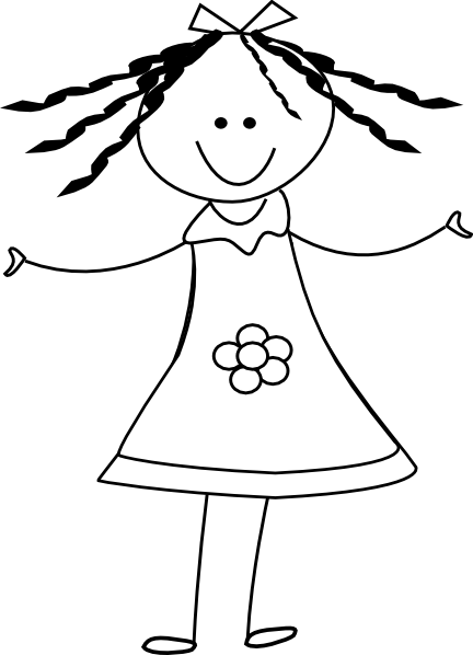 Black And White Clipart Of A Girl.