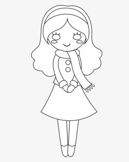 Free Girl Black And White Clip Art with No Background.