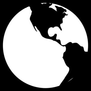 Globe Clipart Black And White Vector.