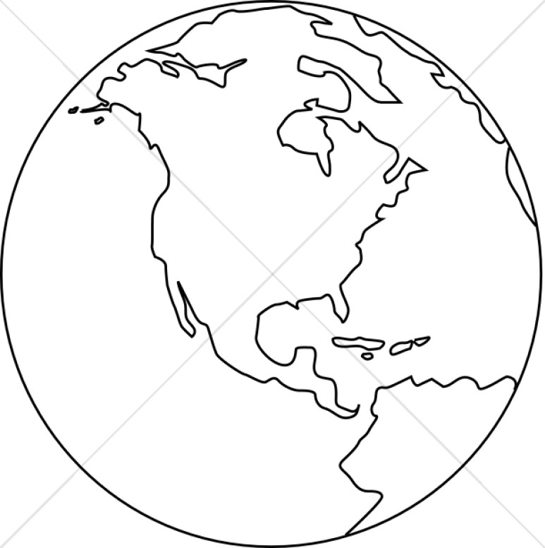 Earth world globe black and white clipart kid.