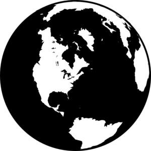 Black And White Globe clip art.