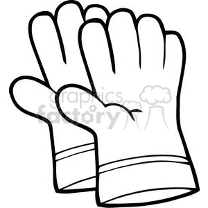 black and white gardening gloves clipart. Royalty.