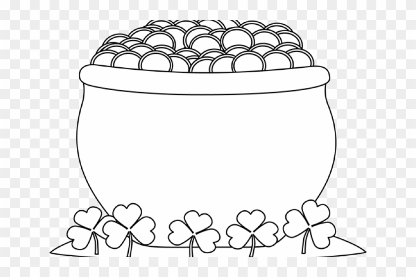 Black And White Pot Of Gold Clipart , Png Download.