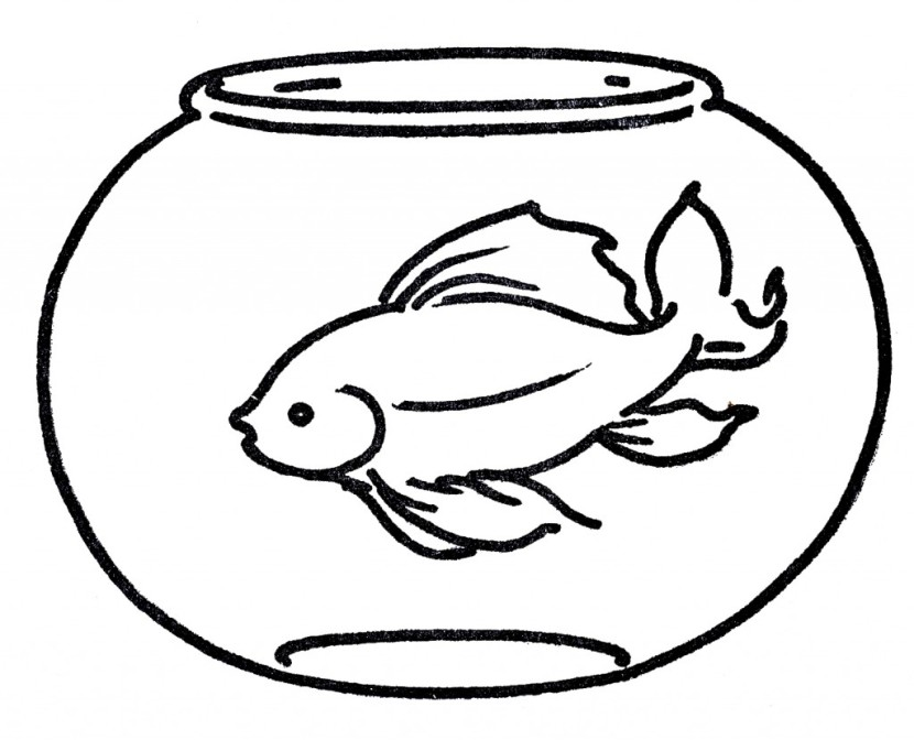 Goldfish clipart black and white 5 » Clipart Station.