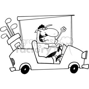 A Happy Golfer Drives Golf Cart clipart. Royalty.