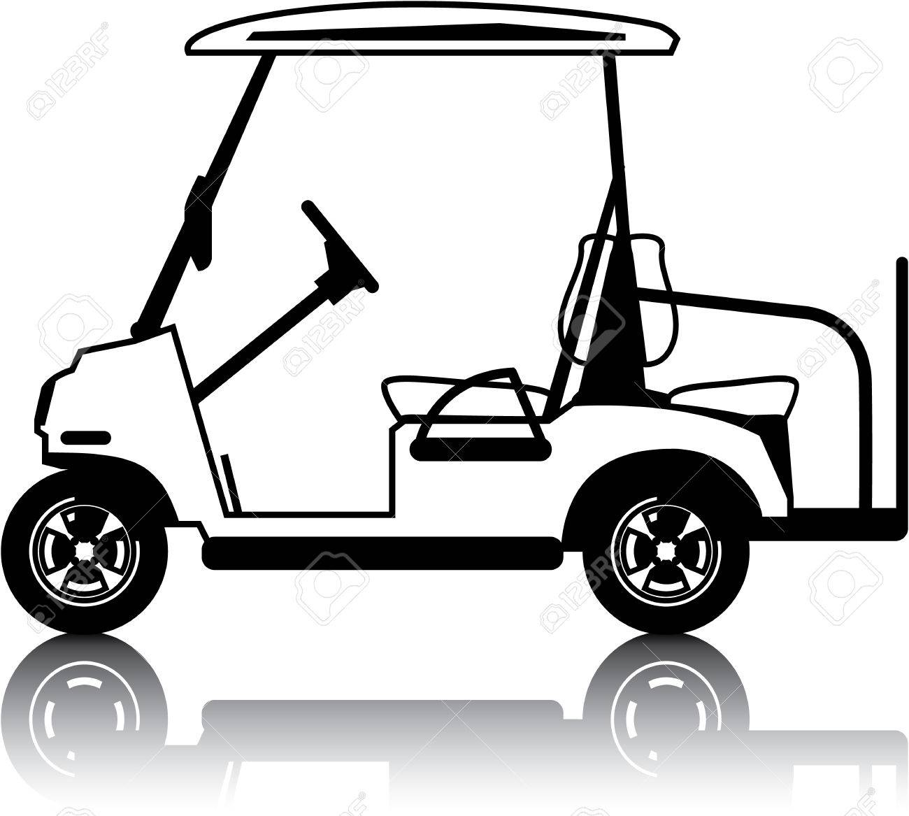 White golf cart vehicle clip.