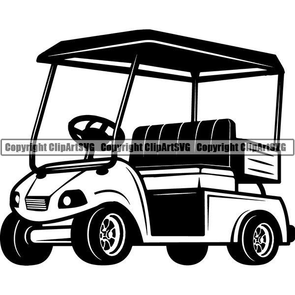 Sports Game Golf Cart ClipArt SVG.