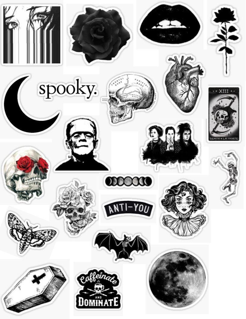 gothic stickers gothic sticker packs grunge goth black white.