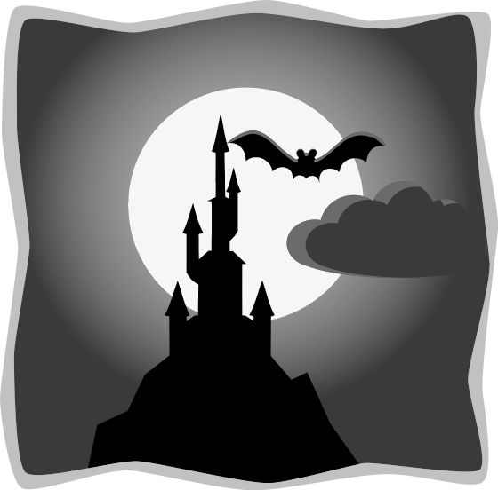 Clipart of a black and white picture of a cloudy Halloween.