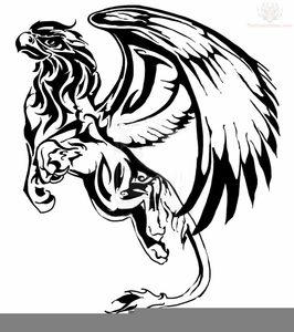 Celtic Dragon Griffin Black White Clipart.