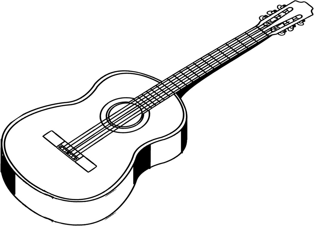 Guitar clipart black and white Unique Guitar clipart black.