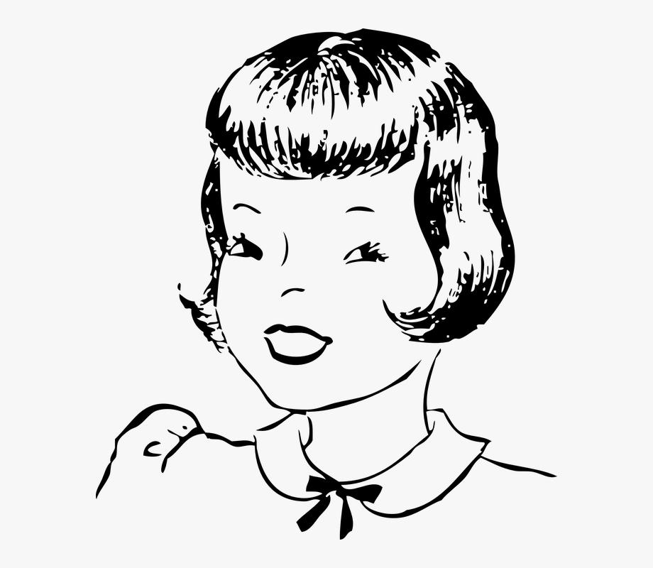 Girl Smiling Portrait Black And White Short Hair.