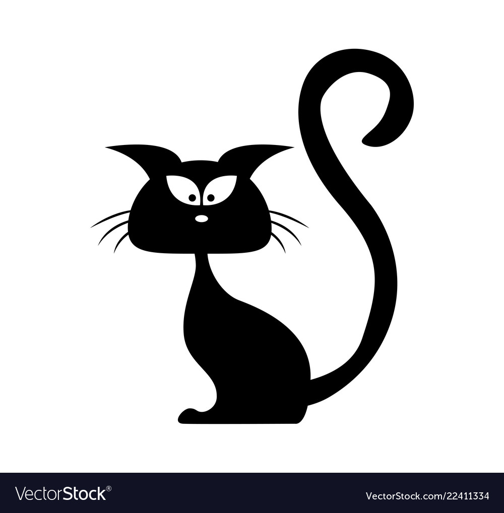 Halloween black cat silhouette cartoon clipart.