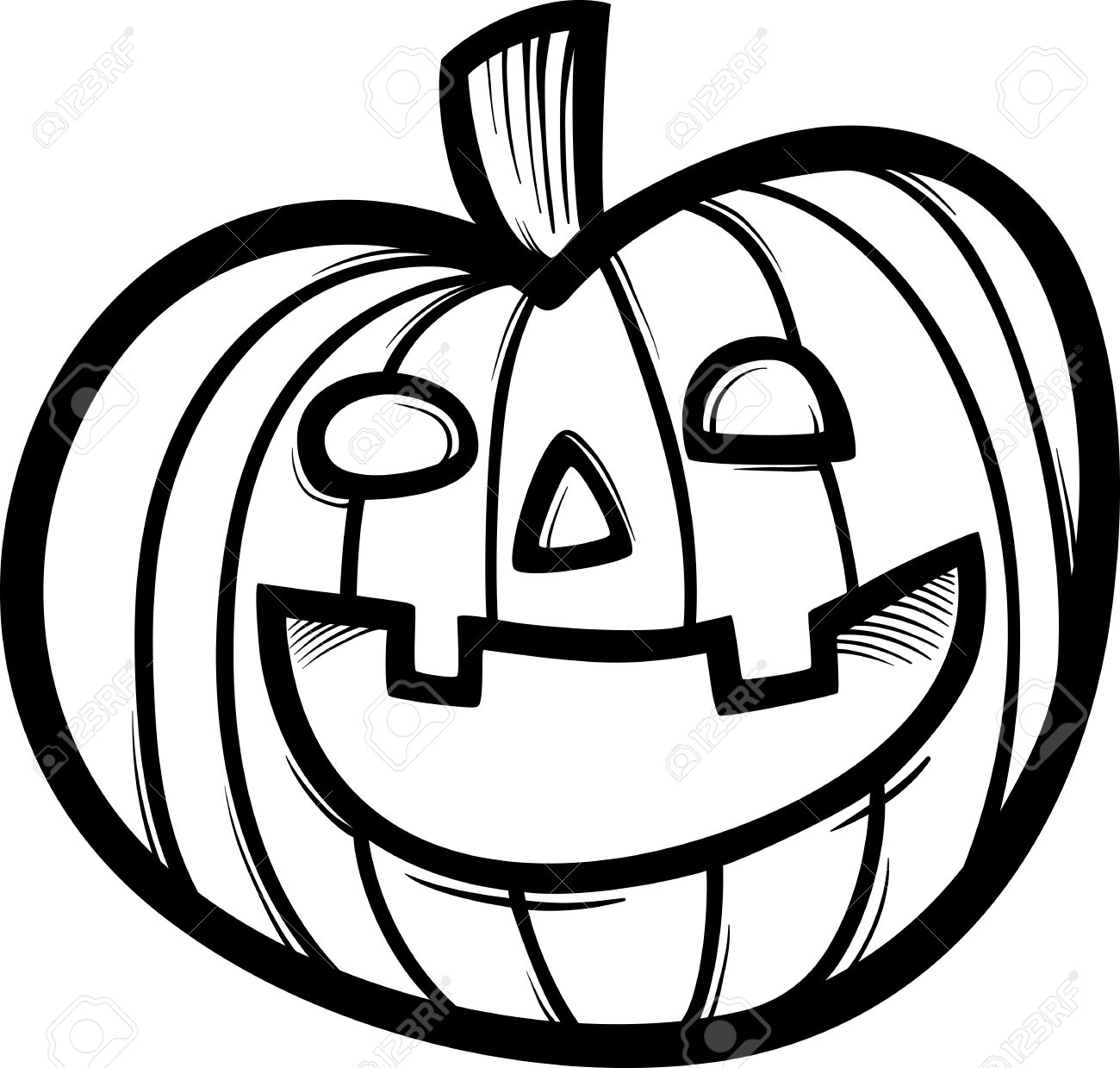 Black and White Cartoon Illustration of Spooky Halloween Pumpkin...