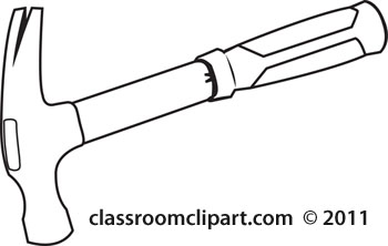 Hammer black and white clipart kid 2.