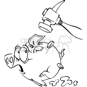 hammer chasing a piggy bank in black and white clipart. Royalty.