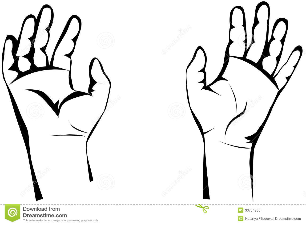 Two Hands Clipart Black And White.