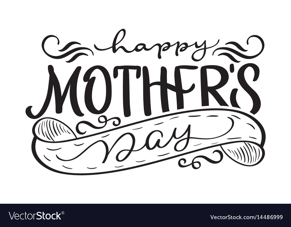 Happy mothers day black modern text.