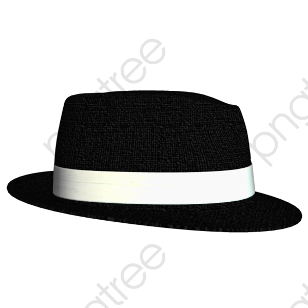 Broad Brimmed White Hat Rim Black Gang, Cartoon Hat, Gangster Hat.