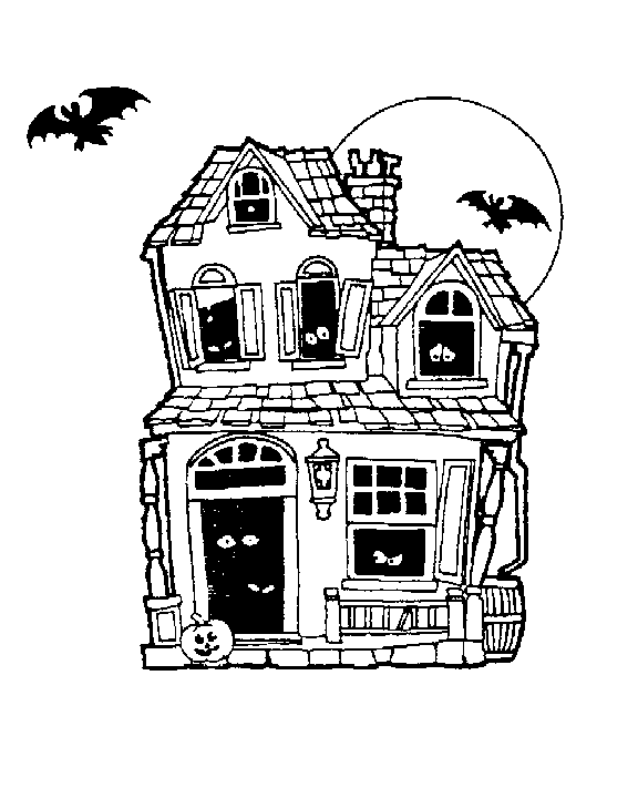 Clip art of a black and white picture of a two story, old.