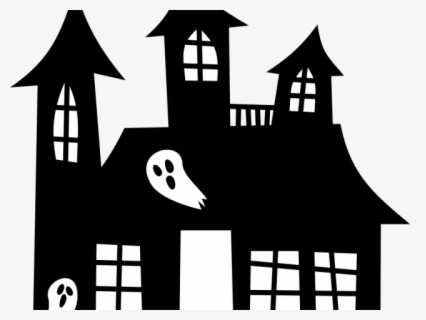 Free Haunted House Black And White Clip Art with No.