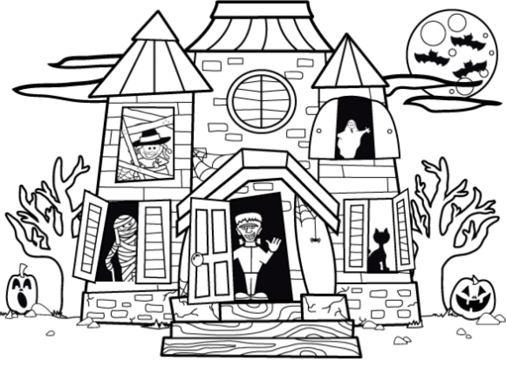 Haunted House Clipart Outline.