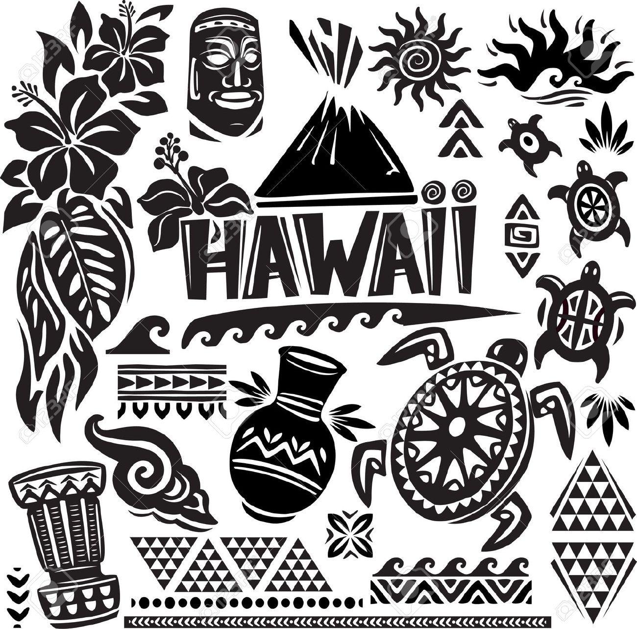 hawaii set (hawaiian, tribal, hawaii clipart.