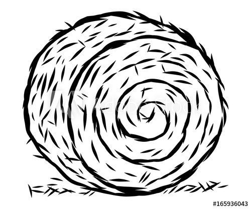 rolled hay / cartoon vector and illustration, black and.