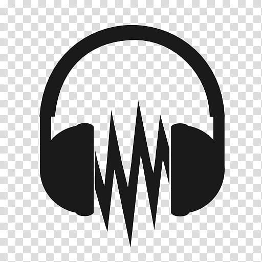 Metronome, black and white headphones transparent background.